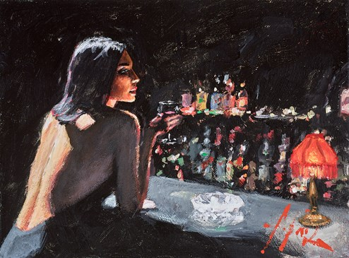 Marmol Negro (At the Bar) by Fabian Perez - Original Painting on Stretched Canvas
